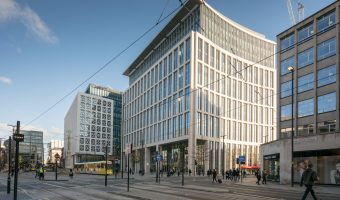 Photo of One St Peter's Square, an office building in Manchester city centre. The building opened in 2014 and was designed by Glenn Howells Architects. Occupants include KPMG.