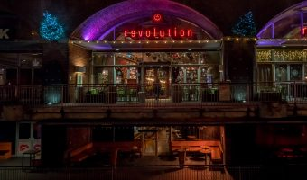 Photograph of the Revolution bar at Deansgate Locks in Manchester city centre.