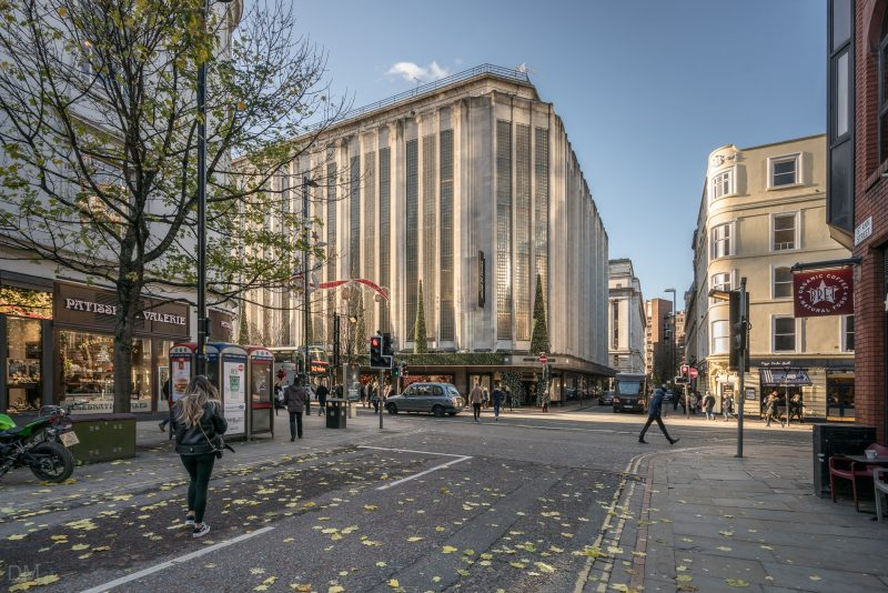 Photograph showing the exterior of the House of Fraser, a department store on Deansgate in Manchester.