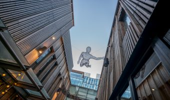 Photo of wire sculptures above The Avenue North at Spinningfields in Manchester city centre.