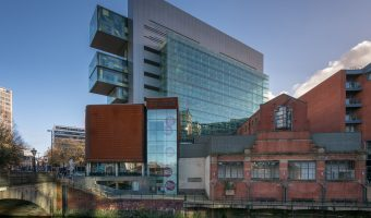 Photo of the People's History Museum and Manchester Civil Justice Centre at Spinningfields in Manchester city centre.