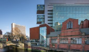 Photograph of the People's History Museum and Manchester Civil Justice Centre, Spinningfields, Manchester.