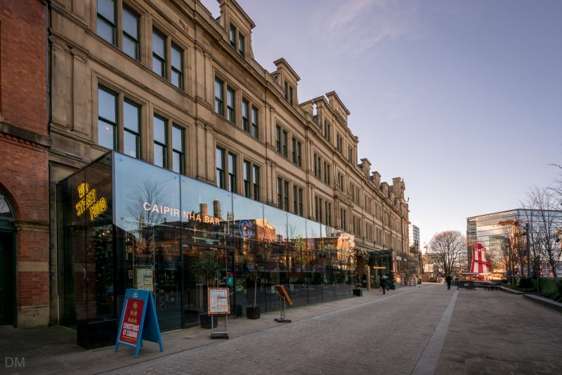 Photo of the northern side of Manchester's Corn Exchange and the Cabana Brazilian restaurant.