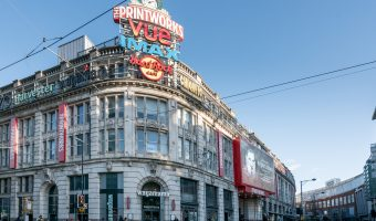 Photograph of the exterior of the Printworks entertainment complex in Manchester.