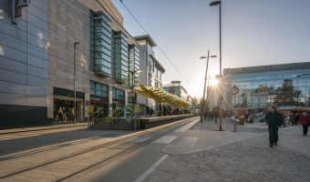 Photograph of Exchange Square Tram Stop, a stop on the Manchester Metrolink light rail system.