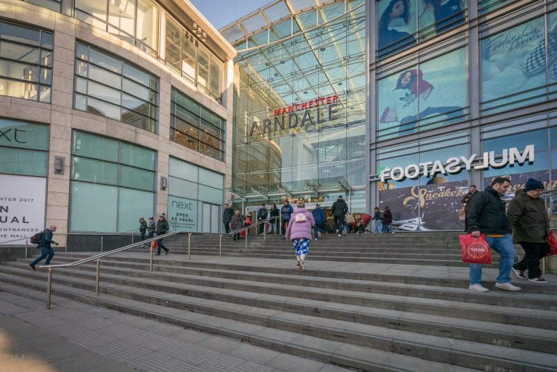 Entrance to the Manchester Arndale shopping centre on Corporation Street, near Exchange Square and Exchange Square Tram Stop.