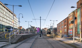 Photo of the Shudehill Tram Stop (Metrolink) at Shudehill Interchange in Manchester.