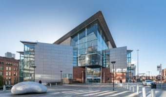 Photo of the Bridgewater Hall, a concert venue in Manchester city centre.