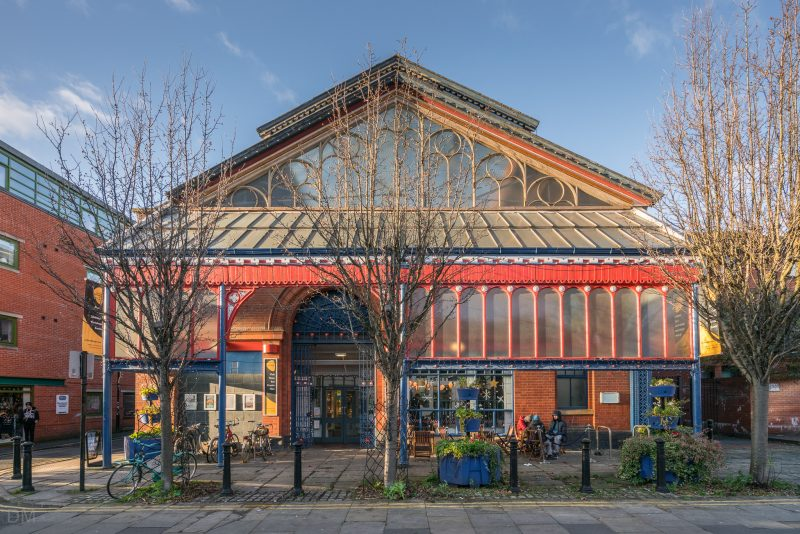Photograph of the Manchester Craft and Design Centre. Situated in a former fish market on Oak Street in the Northern Quarter.