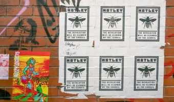 Poster by artist Motley on Warwick Street, Northern Quarter, Manchester.