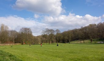 Photograph of a playing field at Moses Gate Country Park in Bolton.