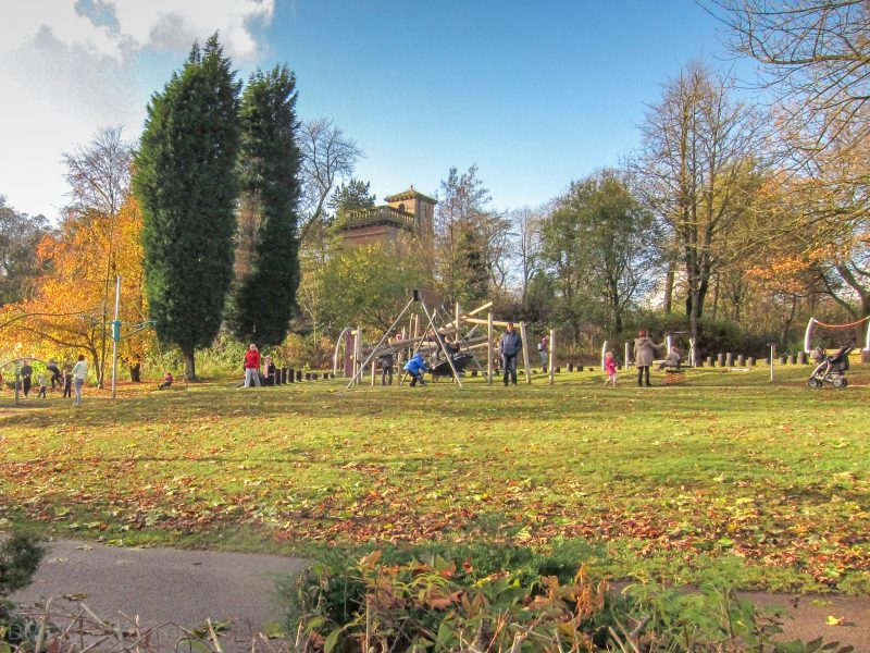 Photo of the children's playground at Moss Bank Park, Bolton.