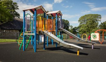 Photograph of the playground at Oak Hill Park in Accrington.