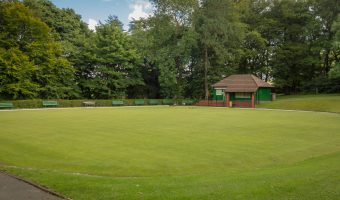 Photograph of the bowling green at Oak Hill Park in Accrington.
