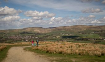 View of the Scout Moor Wind Farm from Holcombe Hill (Harcles Hill) near Ramsbottom.