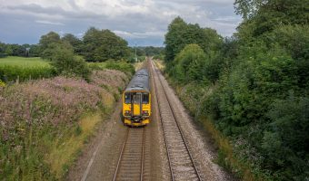 Photo of a train on the East Lancashire Line, near Pleasington Train Station.