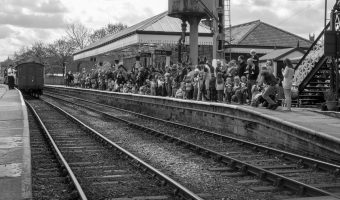 Photograph of children waiting at Ramsbottom Train Station for an East Lancashire Railway event (Day Out with Thomas).