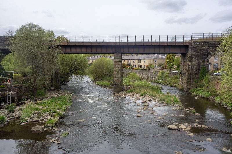 Photograph of the viaduct at Summerseat, Bury. The bridge carries the East Lancashire Railway over the River Irwell. The photograph was taken from Waterside Road.