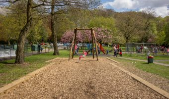 Photograph of the zip line on the playground at Nuttall Park in Ramsbottom.