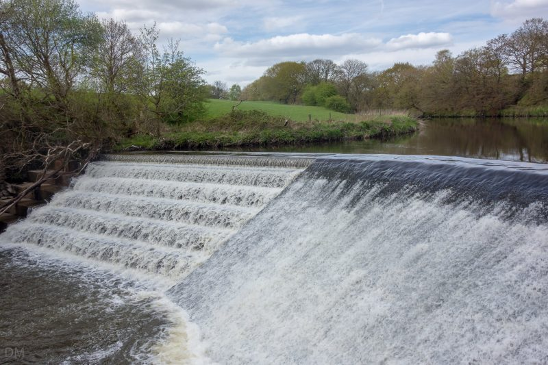 Photograph of a weir on the River Irwell. Situated at the northern end of Burrs Country Park in Bury, Greater Manchester.