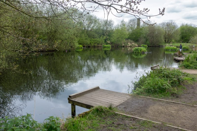 Photograph of Burrs Fishing Lodge at Burrs Country Park in Bury, Greater Manchester. The lodge was originally built to supply water to the water wheel at Higher Woodhill Mill.