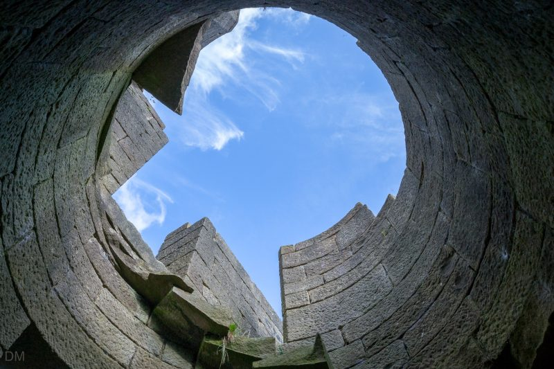 View of the sky from the South West Tower at Liverpool Castle, Rivington, Lancashire.