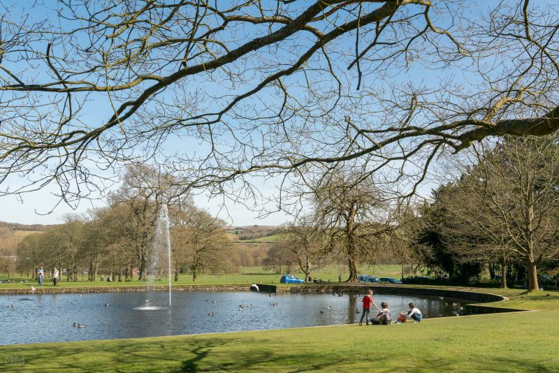 Photograph of the duck pond and fountain at Towneley Hall in Towneley Park, Burnley.