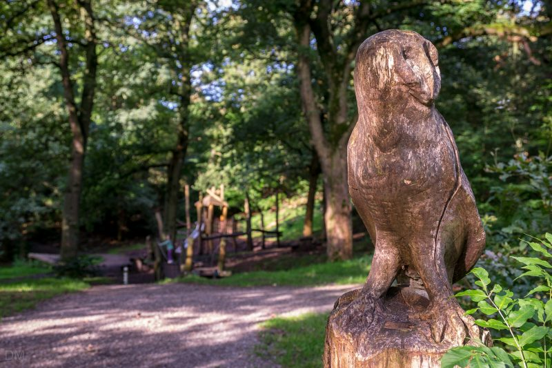 Owl sculpture at Big Cover Wood adventure playground at Witton Country Park, Blackburn.
