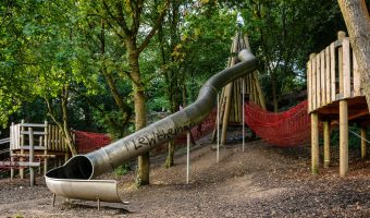 Giant tube slide at The Wits adventure playground in Witton Country Park, Blackburn.