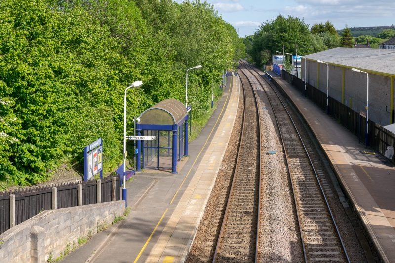 Photo showing track and platforms at Adlington Train Station, Adlington, Lancashire.