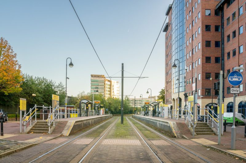 Photograph of Anchorage Tram Stop. The Metrolink stop opened in 1999 and is located at Salford Quays.
