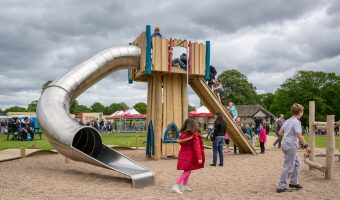 Slide at adventure play area at Astley Park in Chorley, Lancashire.