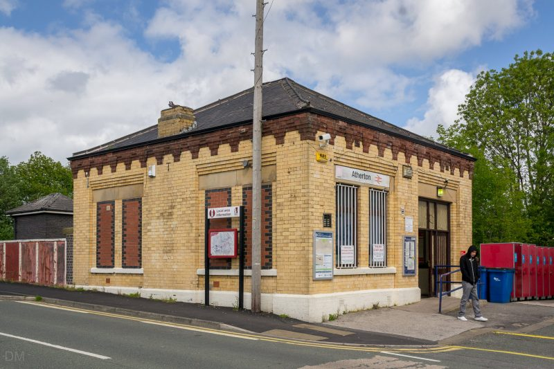 Photograph showing station building at Atherton Train Station.