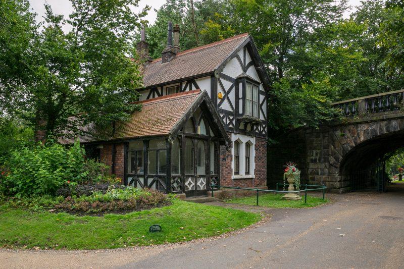 Photo of Avenham Park Lodge at Avenham Park, Preston. The Ivy Bridge can also be seen.