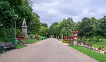 Photo of Derby Walk at Miller Park in Preston, Lancashire. The Earl of Derby Statue can also be seen.