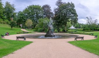 Photograph of fountain and gazebo at Miller Park, Preston.