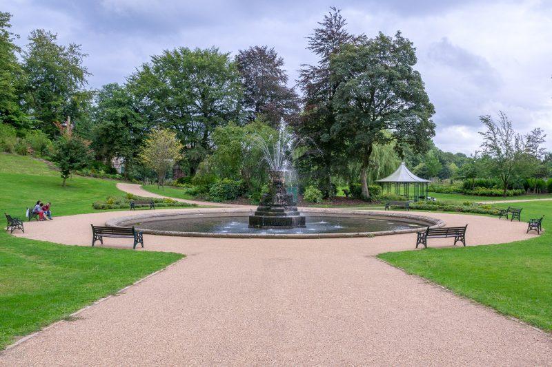 Photograph of fountain and gazebo at Miller Park, Preston.