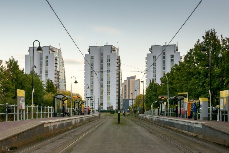 Photo of Broadway Tram Stop (Metrolink) at Salford Quays. The NV Buildings (apartments) can also be seen.