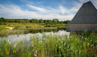Photo of floating Visitor Village at Brockholes.