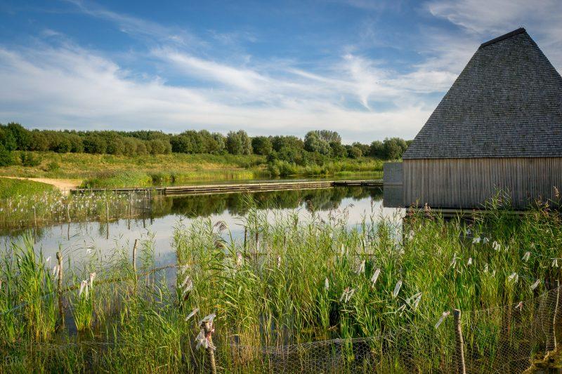 Photo of floating Visitor Village at Brockholes.