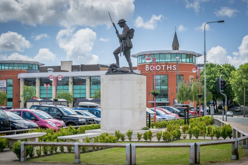 Photo of the Chorley Pals Memorial on Union Street in Chorley, Lancashire. The statue was unveiled in February 2010.