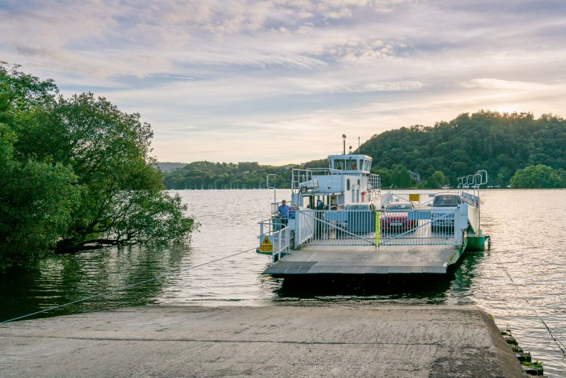 Photograph of the Windermere Ferry (Mallard) at Ferry Nab, the eastern pier of the ferry service.
