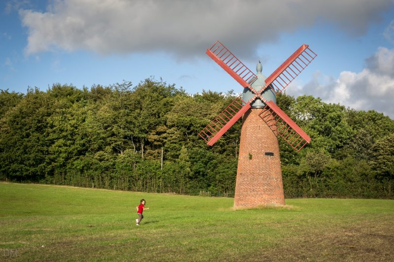 Photograph of the Haigh Windmill in Haigh, Wigan. It is the only standing windmill in Greater Manchester. It was built in 1840s to pump water to a nearby brewery.