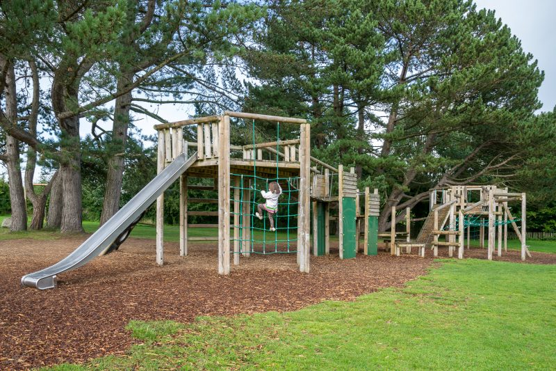 Photograph of the climbing frame at the Natural Adventure Play Area in Happy Mount Park, Morecambe.