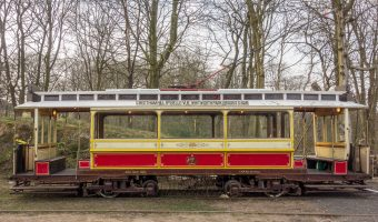 Photograph of the Manchester 765 tram at Heaton Park Tramway, a heritage tramway at Heaton Park, Manchester.