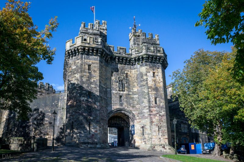 Photograph of the Gatehouse at Lancaster Castle in Lancaster. The main entrance, flanked by two towers, was constructed at the start of the 15th century.