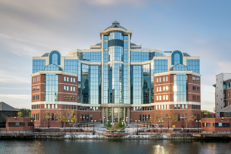 Photograph of The Victoria, a nine-storey office building at Salford Quays.