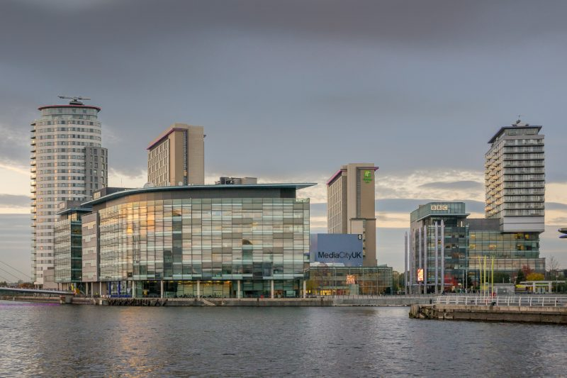 View of MediaCityUK from the Imperial War Museum North.