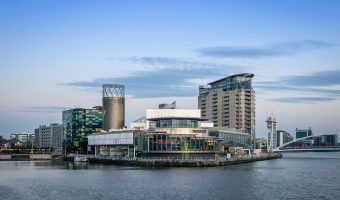 Photo of The Lowry theatre. Viewed from the MediaCityUK Footbridge.