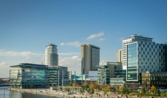 Photograph of MediaCityUK at Salford Quays, Greater Manchester.